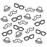 Mustaches glasses and hats. Icon  illustration graphic design Stock Photos