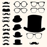 Mustaches hats glasses Stock Photos
