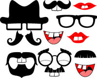 Mustaches and lips with big front teeth Stock Photos