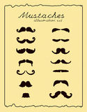 Mustaches retro illustration set Stock Image