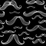 Mustaches seamless pattern. Hand drawn elements. Vector illustration Royalty Free Stock Photo