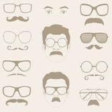 Mustaches, sunglasses, eyeglass Royalty Free Stock Image