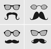 Mustaches and Sunglasses. Vector Illustration set Royalty Free Stock Image
