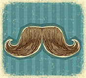 Mustaches symbol set on old paper texture. Royalty Free Stock Photo