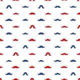 Mustaches Vector Seamless Pattern. November Holiday Wrapping. Mustaches Seamless Patterns for November Holiday Wrapping Paper. Vector Red and Blue Moustache