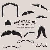 Mustachio! Jogo do bigode do vetor Fotografia de Stock Royalty Free