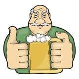 Mustachioed человек с стеклом пива Стоковое фото RF