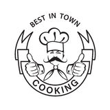 Mustachioed chef icon Royalty Free Stock Image