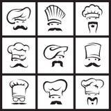 Mustachioed Chefs eingestellt Stockfotos