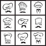 Mustachioed chefs set Stock Photos