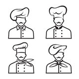 Mustachioed chefs set Royalty Free Stock Images