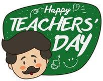 Mustachioed pedagog z Chalkboard z Doodles dla nauczyciela ` dnia świętowania, Wektorowa ilustracja ilustracja wektor