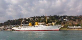 Mustafa Kemal Ataturk游艇MV Savarona 免版税图库摄影