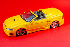 Mustang. This is a shot of a yellow toy car. Red is the background color Stock Image