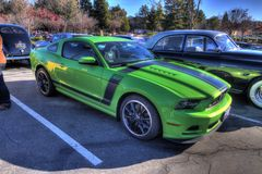 Mustang Boss 302 at Blackhawk coffee and cars Nov  Stock Image