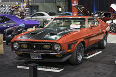 1971 mustang boss 351. Front side view of red 1971 ford mustang boss 351 in display at the international show car association 2015. Isca show car 2015 at quebec Royalty Free Stock Image