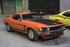 Mustang boss 302. Montreal october 10-12, 2014 front side view of orange 1969 mustang boss 302 in display during the autorama event royalty free stock image