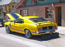 Mustang Boss 302. This is one of the last factory hot rods from Ford built in the early 1970's. Because it has heads from a 351 C.I. V-8 engine mounted on a 302 stock images
