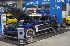 Mustang boss 302. Picture of blue ford mustang boss 302 with white side stripe in display at the international show car association 2015. Isca show car 2015 at royalty free stock images