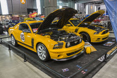 Mustang boss 302. Picture of two different generation of mustang boss 302 in display during salon-auto sport de quebec 2016 royalty free stock image