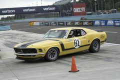 Mustang boss 302 race car. Picture of vintage mustang boss 302 race car in preparation before the race during the U.S vintage grand prix at watkins glen royalty free stock photos