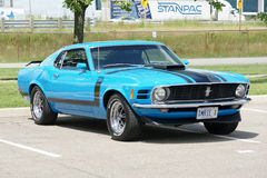 Mustang boss 302. Sanair august 8, 2015 front side view of blue 1970 mustang boss 302 during car show at 20e super ford show royalty free stock photography