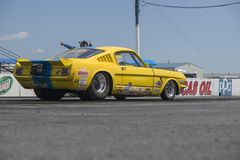 Mustang de vintage sur la voie à la ligne de départ Photographie stock libre de droits