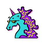 Mustang, dekoracja, szkła, druk, koń, sen, ogier, linia, wektor, magia, głowa, symbol, legenda, grafika, element, mytholog Fotografia Stock