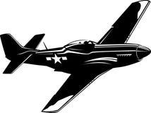 Mustang do lutador P51 preto e branco ilustração stock
