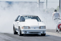 Mustang drag car burnout Royalty Free Stock Photo