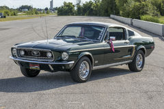 Mustang. Sanair august 8, 2015 front side view of 1968 mustang fastback gt at 20e super ford show Royalty Free Stock Photo