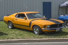 Mustang Boss 302. Front side view of 1970 ford mustang boss 302 grabber orange in display during pique-nique en voiture pour l'espoir 2016 royalty free stock image