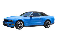 2014 Mustang Grabber Blue Convertible. 2014 Ford Mustang convertible.  Six cylinder model with grabber blue paint and Cobra style wheels.  Isolated image showing Royalty Free Stock Photo