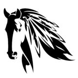 Mustang horse head with indian feathers vector. Wild mustang horse with feathers in mane - native american spirit animal black and white vector design vector illustration