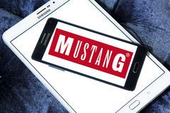 Mustang Jeans logo. Logo of Mustang Jeans company on samsung mobile. Mustang is one of the most popular trademarks all over the world and biggest manufacturer of Stock Image