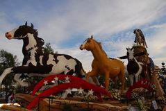 Mustang Monument float at the 122nd tournament of Stock Images