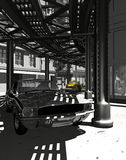 Mustang in old Manhattan. Digital recreation of a Ford Mustang car in  old Manhattan, under the elevated rails. A yellow cab in background Royalty Free Stock Photo