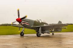 Mustang P51D `The Shark`. At Duxford Imperial War Museum airfield royalty free stock photos