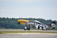 Mustang P-51 på 2018 stora New England Airshow i Chicopee, Massachusetts Fotografering för Bildbyråer