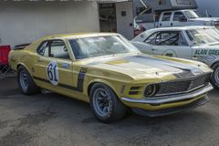 1970 mustang race car. Front side view of 1970 mustang boss 302 race car in display during the U.S vintage grand prix at watkins glen international sept 8-11 stock photos