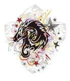 Mustang tribal grunge avec un dragon à l'intérieur illustration stock