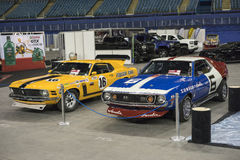 Mustanga i dardy samochody wyścigowi fotografia stock