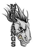 Mustangmaskot royaltyfri illustrationer