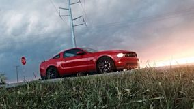 Mustangsolnedgång Fotografering för Bildbyråer