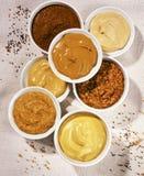 Mustard. Assortment of various tasty mustard royalty free stock photography