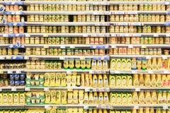 Mustard Bottles On Supermarket Stand Stock Images