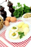 Mustard eggs with potatoes Stock Photo