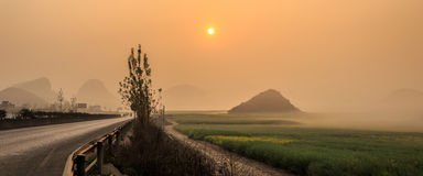 Mustard fields. Beautiful yellow field full of rapeseed in Luoping at Yunnan of China Stock Photo
