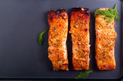 Mustard and honey glazed baked salmons fillet Royalty Free Stock Photo