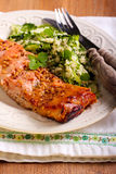 Mustard and honey glazed salmons and salad Royalty Free Stock Photos